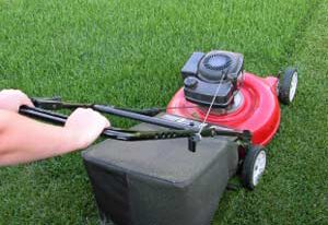 Mowing lawn household chores