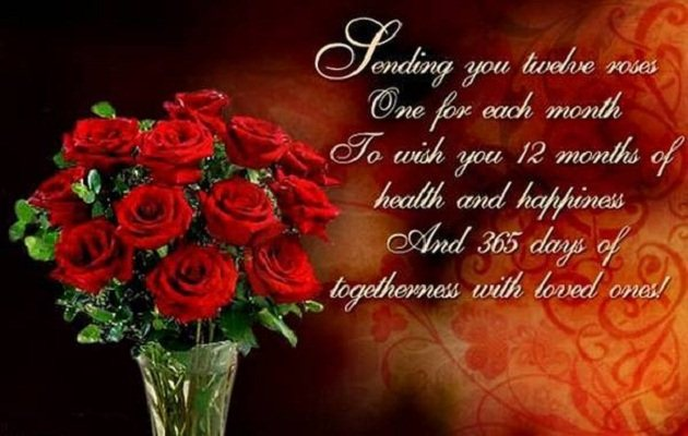 Happy new year 2017 traditions wishes quotes greetings health happy new year sending u 12 rose m4hsunfo